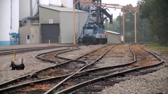 Lots of railroad tracks in a grain storage yard Stock Footage