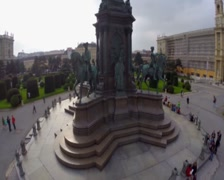 Aerial shot of Vienna architecture monument near Museumsquartier, click for HD Stock Footage