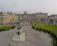 OSCE headquarters in Vienna on Heldenplatz, rider statue, aerial, click for HD Stock Footage