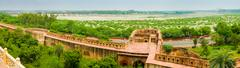 Agra fort ramparts panoramic view Stock Photos