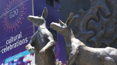 Kangaroos next to G20 sign in Brisbane 4K Stock Footage
