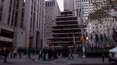 Rockefeller Center Christmas Tree In New York City Under Construction - stock footage