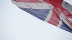 Stock Video Footage of union jack flag blowing in wind 96fps