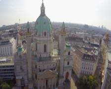 Tourist architecture Vienna, Karlskirche European Baroque aerial, click for HD Stock Footage