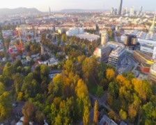 Aerial shot of Vienna skyline, city dusk, buildings architecture, click for HD Stock Footage