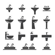Sink icon set Stock Illustration