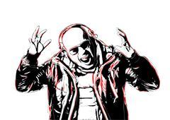 screaming disc jockey - stock illustration