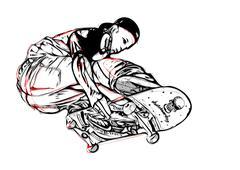 jumping skateboarder - stock illustration