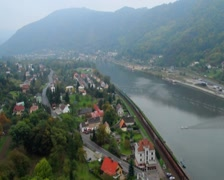 Beautiful village timelapse, ships trains cars traffic fog cloud, click for HD Stock Footage
