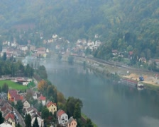 Timelapse of small village life, cars trains, wind on river, click for HD Stock Footage