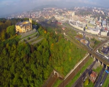 Industrial city town aerial, railroad train car traffic industry, click for HD Stock Footage