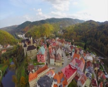 Medieval town fortress castle, buildings river moat, old ancient, click for HD Stock Footage