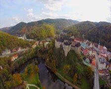 Old castle establishing aerial shot, medieval fortress color, click for HD Stock Footage