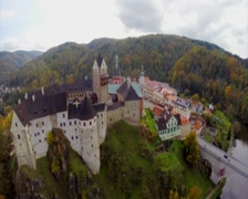 Old medieval castle walls aerial, moat town near fortress autumn, click for HD Stock Footage