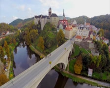 Beautiful medieval architecture red roofs, ancient castle aerial, click for HD Stock Footage