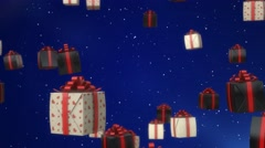 Stock Video Footage of Gift Boxes Falling Animated Festive Abstract Background