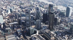 London city aerial helicopter flight urban skyline Stock Footage