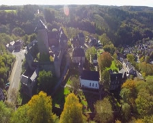 Beautiful German castle aerial, Burg on Wupper river sunshine, click for HD Stock Footage