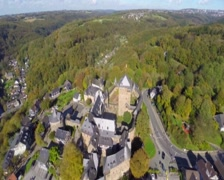 Old European village knights castle aerial, medieval walls town, click for HD Stock Footage