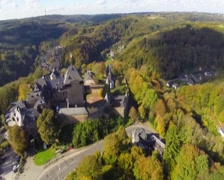 Knights castle aerial, Schloss Burg Germany, European village, click for HD Stock Footage