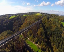 Railroad bridge aerial, spectacular view Solingen Germany Europe, click for HD Stock Footage