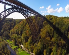 Amazing bridge aerial, huge railroad Mungstener Brucke, old high, click for HD Stock Footage