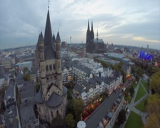 Great St Martin Church in Cologne, City Hall, Cathedral aerial, click for HD - stock footage