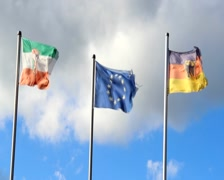 Waving flags of Germany, European Union, North Rhine-Westphalia, click for HD Stock Footage