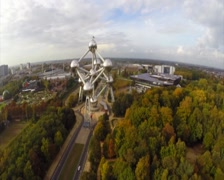Fly above Atomium huge complex in Brussels Belguim aerial, click for HD Stock Footage