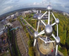 Close-up Atomuim aerial shot, Brussels capital city symbol shot, click for HD Stock Footage