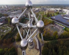 Atomium close-up atoms huge large reflective steel balls, museum, click for HD - stock footage