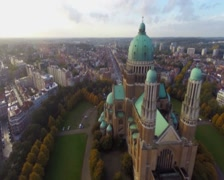 Brussels tourist site seeing attraction aerial shot old Basilica, click for HD Stock Footage