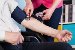 Pressure measurement in a hospice Stock Photos