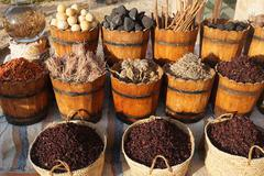 Market in egypt with colorful spice and tea Stock Photos