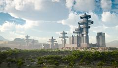 Aerial view of Futuristic City Piirros