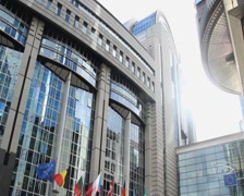 European Parliament building headquarters in Brussels Belgium EU, click for HD - stock footage