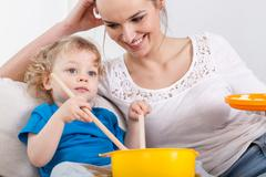 mother and baby spending time together - stock photo