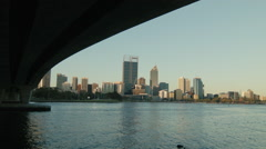 View Of Perth City Skyline From Under The Narrows Bridge Stock Footage