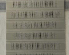 European Parliament logo plate, all euro languages EU countries, click for HD Stock Footage