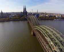 German city Cologne aerial view tourist attraction, Cathedral, click for HD Stock Footage