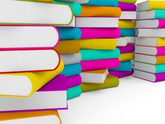 Multiple stack of colorful books Stock Illustration