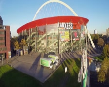Indoor arena in Cologne Lanxess, concert venue, aerial beautiful, click for HD Stock Footage