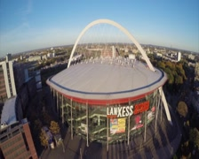 Lanxess Arena in Cologne aerial shot, large concert venue place, click for HD Stock Footage