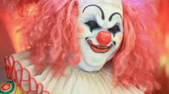 Scary clown robot smiling. Stock Footage