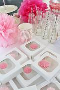 Decorated table for a baby shower - stock photo