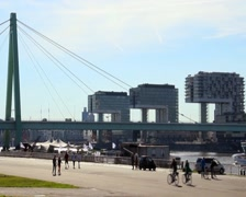 Cologne three office buildings, city quay, ship river traffic, click for HD Stock Footage