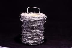Roll of barbed wire Stock Photos