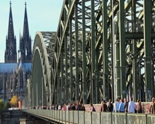 Cathedral Notre Dame de Cologne, bridge over Rhine, city symbol, click for HD Stock Footage