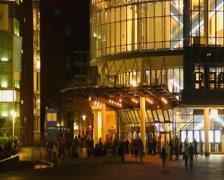 Night city life timelapse, social people, late time cinema hall, click for HD Stock Footage