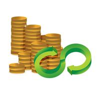 unlimited amount of money infinity coins concept - stock illustration